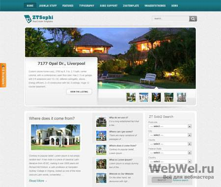 ZT Sophi - Real Estate Joomla Templates